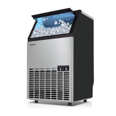 沃拓萊制冰機 80KG自來水全自動制冰大型商用冰塊機奶茶店酒吧方冰制冰機造冰機冰塊制作機