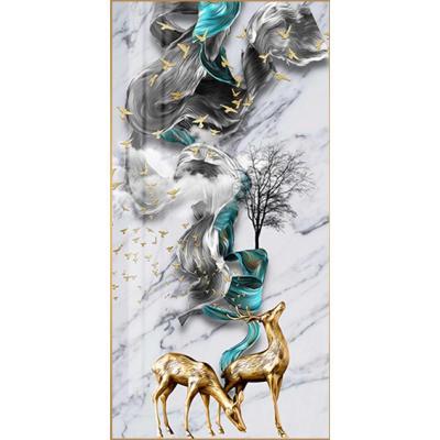 財鹿相匯 寬100*高200珍珠黑(鋁合金屬拉絲框)(高端鋁合金+鑲鉆 現代簡約輕奢晶瓷畫玄關裝飾畫抽象客廳走廊過道壁畫