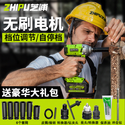 芝浦(ZHIPU)无刷电动扳手锂电充电扳手冲击汽车脚手架子工木工套筒风炮 特惠款【一电一充】标配