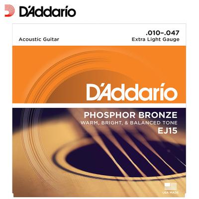 達達里奧自營(D'Addario)EJ15 美國原裝進口民謠吉他弦套弦琴弦 EJ15 (10-47磷銅)