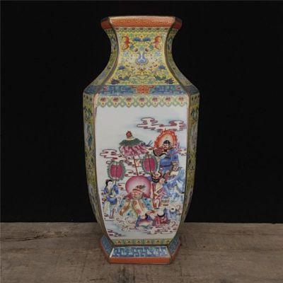 清 乾隆粉彩描金人物琴仙图扁瓶古董瓷器摆件老货古玩收藏艺术品