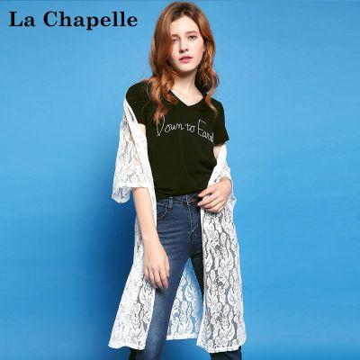 拉夏貝爾puella夏季新時尚寬松休閑顯瘦短袖蕾絲中長款防曬外套女20010129