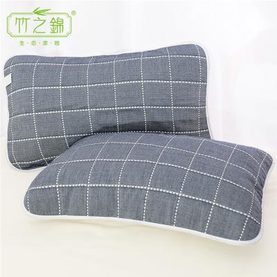 竹之锦 枕巾全棉透气 纯棉纱布格子提花枕头巾 1对装 50*80cm