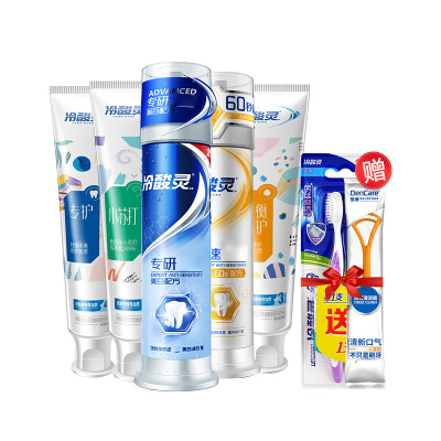 冷酸靈 全家福按壓泵式套裝牙膏 專研抗敏60秒強效抗敏 全家福(口腔全效護理套裝)