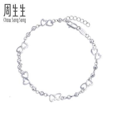 周生生(CHOW SANG SANG)Pt950铂金Loving Hearts心影手链90420B计价