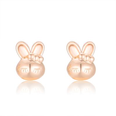 CRD/克徕帝18K金耳饰彩金耳钉玫瑰金甜美萌萌兔耳环送礼正品