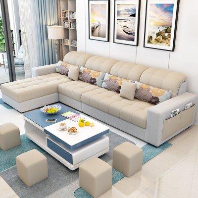 航竹坊 北歐布藝沙發組合套裝小型客廳現代簡約三人小戶型整裝家具經濟型