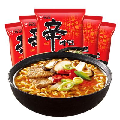 農心(nongshim) 韓國進口方便面 辛拉面120g*5連包 進口泡面宵夜煮面