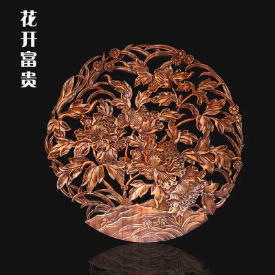 木掛件 香樟木仿古圓形刻中式玄關客廳背景80cm加厚壁掛