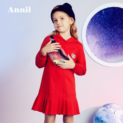 安奈儿童装女童秋季新款连衣裙甜美百褶连帽卫衣连衣裙