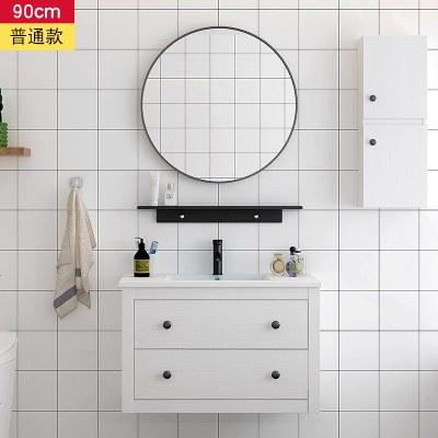赛可优北欧实木浴室柜卫生间洗漱台洗脸盆柜组合智能镜柜落地式洗手池 90cm吊柜普通款+配件