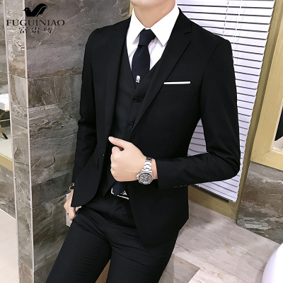 富貴鳥(FUGUINIAO)大碼西裝男套裝三件套商務修身韓版新郎婚禮服結婚伴郎S西裝正裝