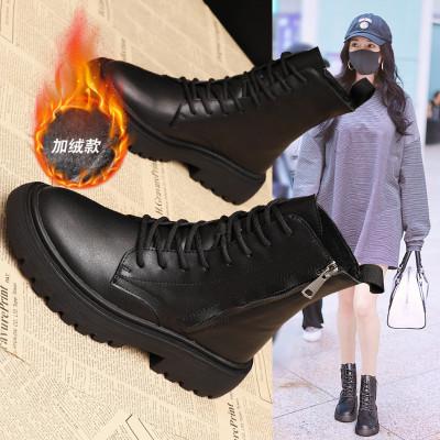 赏爵SANJOE冬季新款2019女靴百搭街头短靴女马丁靴女士长筒靴英伦风雪地靴女鞋裸靴加绒保暖棉鞋学生女靴子