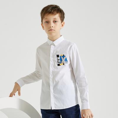 【2件2.5折價:57.3】米喜迪mecity童裝春秋新款男童休閑兔子印花白色長袖襯衫