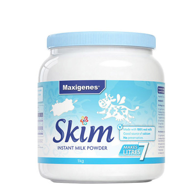 Maxigenes美可卓蓝胖子蓝妹子脱脂高钙牛奶粉1kg/罐装成人中老年青少年学生孕妇奶粉3岁以上澳洲进口高钙