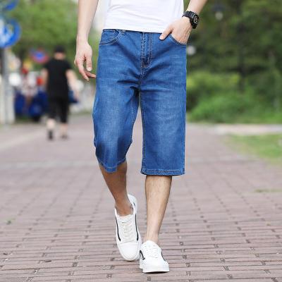凌鵠2020夏季薄款七分牛仔褲男直筒寬松中高腰男士牛仔褲大碼寬松中年爸爸裝男褲子輕薄款闊腿褲