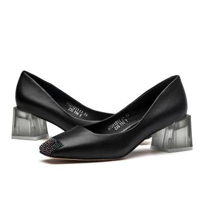 紅蜻蜓女鞋春季新款韓版簡約休閑小皮鞋套腳時尚方頭粗跟單鞋