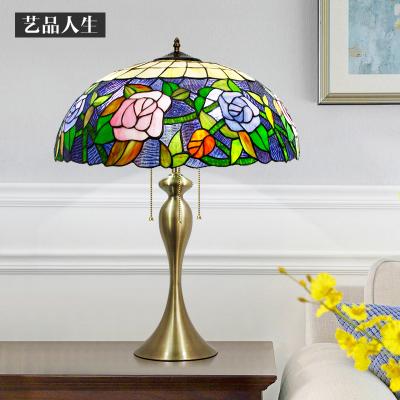 创意家居玻璃定制卧室床头装饰台灯欧式田园客厅书房阅读铁艺台灯