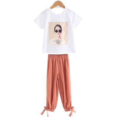 女童套裝薄款夏裝2019新款潮親子裝母女裝洋氣夏天兒童韓版童裝兩件套XL滌綸 威珺