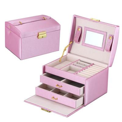 盒子三層雙抽屜珠寶首飾盒 跨境pu皮革飾品 公主珠寶首飾收納箱 雨絲紋紫色