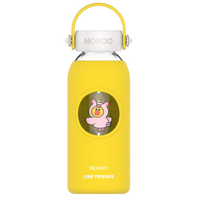NONOO 酷卡玻璃杯LINE FRIENDS 400ML -明黄
