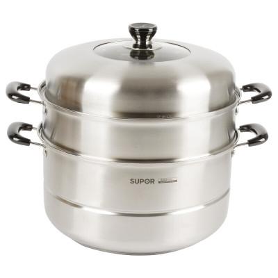蘇泊爾(SUPOR)蒸鍋SZ34B17好幫手304不銹鋼鍋加厚復底蒸籠蒸屜家用三層大容量蒸饅頭鍋