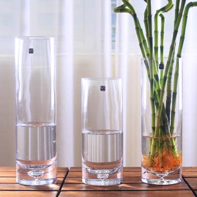 現代簡約透明玻璃花瓶富貴竹大號花瓶客廳插花花器觀音竹百合花瓶