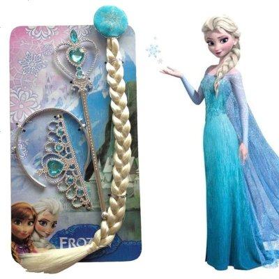 节日六一冰雪奇缘儿童饰品玩具假发辫子权杖三件套两件套项链