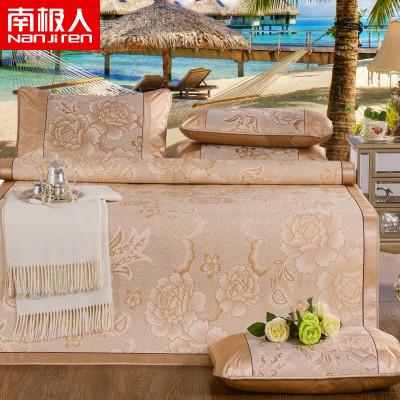 南極人(NanJiren)家紡 涼席套件冰絲席三件套涼席/涼枕套1.5/1.8米可折疊單雙人提花圖案空調席