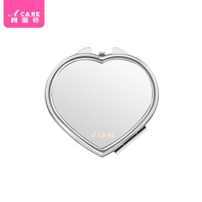 心形镜1个#Acare时尚化妆镜便携镜女士随身折叠小镜子不锈钢双面镜韩国简约