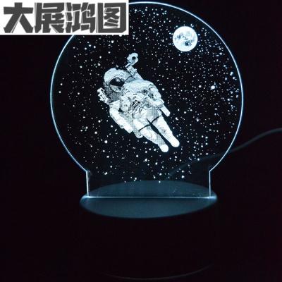 創意宇航員3D臺燈太空人夜燈生日情人節圣誕節嬰兒起夜喂奶燈 16色觸摸遙控款