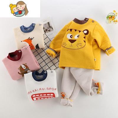兒童保暖內衣套裝嬰幼兒三層保暖高腰褲男女寶加厚秋衣褲