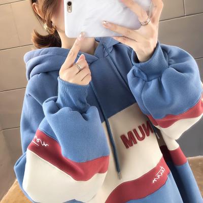 有怡加绒加厚长袖连帽卫衣女装秋冬装韩版2019新款ins休闲时尚外套上衣女