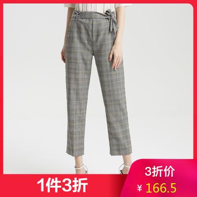 【1件3折價:166.5】羊毛MECITY女秋季新款法式工裝褲復古格紋長褲常規褲