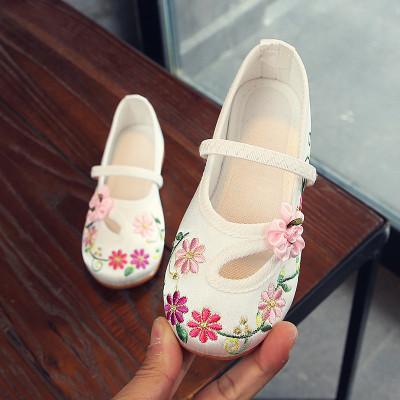 尚品杭女童繡花鞋中國風漢服寶寶布鞋兒童手工復古公主表演出鞋子