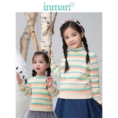 茵曼INMAN童装儿童毛衣 女童套头秋冬季2018新款棉质圆领学生保暖上衣