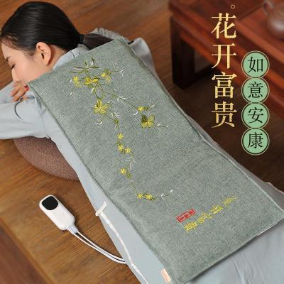 睡德康電加熱鹽袋海鹽保健粗鹽熱敷包電熱艾灸暖宮理療熱敷鹽包睡 刺繡款花開富貴綠色