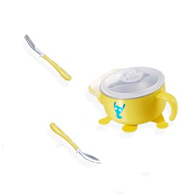 纽因贝儿童餐具 婴儿注水保温316不锈钢碗勺套装 宝宝吸盘辅食吃饭碗 三件套