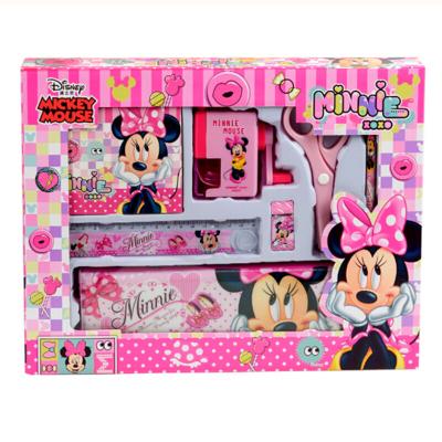 聯眾(UME)學生文具套裝男女鉛筆盒卷筆刀手搖兒童文具套裝禮盒帶削筆刀7件套DM6049-5B(粉色)