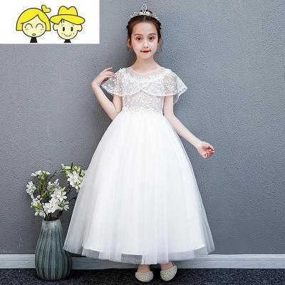 女童晚礼服公主裙长裙洋气花童蓬蓬纱小女孩演出服儿童主持人服装