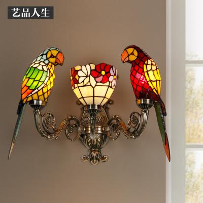 藝品人生 歐式鐵藝陽臺走廊過道玄關燈具個性創意家用客廳臥室床頭鸚鵡壁燈