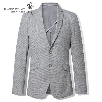 商場同款 與狼共舞休閑單西男修身男士西裝條紋西服