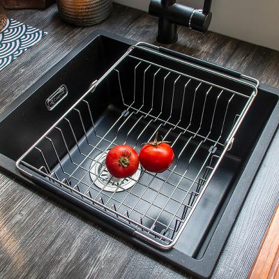 科恩纳304水槽沥水架伸缩滤沥水篮厨房碗碟架加粗挂篮置物架