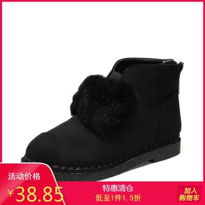 SHOEBOX/鞋柜女鞋 時尚舒適冬百搭雪地靴女短靴加絨平底棉靴