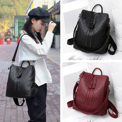 淑女芭莎(SHUNVBASHA)雙肩包女2020款時尚百搭韓版潮流女士背包大容量軟皮旅行小書包