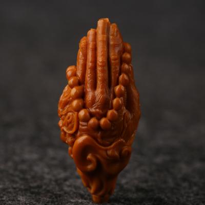 龙佛手橄榄核雕单粒