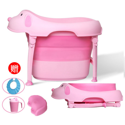 Amyoung抖音同款可折疊兒童洗澡桶嬰兒浴盆寶寶浴桶一個裝pp可坐躺小孩用品泡澡沐浴桶大號寶寶澡盆用具 卡通折疊款粉色
