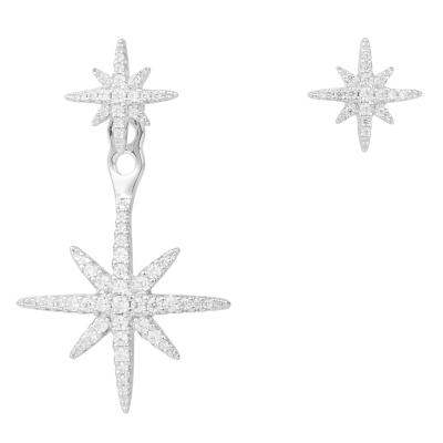【直营】apm MONACO六芒星925银镶晶钻不对称女士耳钉耳坠耳环送恋人AE10596OX