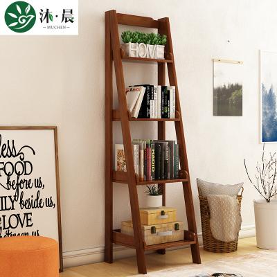 沐晨 書柜 實木書架書柜 簡約現代臥室多層收納架陽臺儲物花架客廳木質置物架