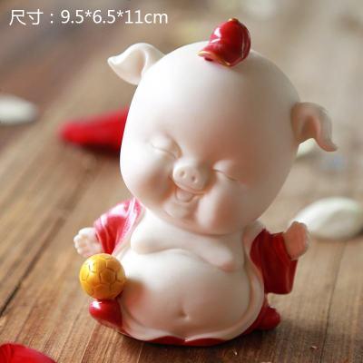 生肖吉祥小猪创意陶瓷家居客厅书房办公室车载装饰品摆件